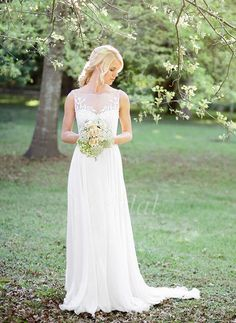 Wedding Dresses - $143.06 - A-Line/Princess Scoop Neck Sweep Train Chiffon Wedding Dress With Appliques Lace (0025101927)