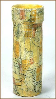 Brooklin Pottery, Brooklin, Ontario, studio pottery vase, Theo and Susan Harlander, mid 20th century   The design features a series of sgraffito figures interwoven and surrounding the vase that is glazed in ochre tones.