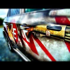 shotgun detail on our Zombie Escape Vehicle Wrap