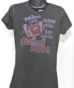 Football Mom Big Bling Rhinestone T-shirt - Goal Post Series on Etsy, $19.99