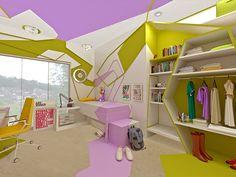 Attention! Private Space! - Cubism, Teenage Room / Aufmerksamkeit!Pers�nliches Raum! - Kubismus,Teenager-Zimmer, Jugendzimmer  by Brani &  Desi, www.branidesi.com