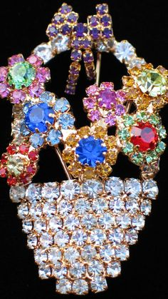 """RHINESTONE HAPPY MOTHERS DAY EASTER FLOWER BASKET BOUQUET PIN BROOCH 2.5"""" DANGLE #Unbranded"""