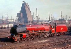 """Coronation Pacific 46240 """"City of Coventry"""" on Willesden shed Coventry, Steam Trains Uk, Old Trains, Vintage Trains, Steam Railway, Train Times, Train Art, British Rail, Train Pictures"""