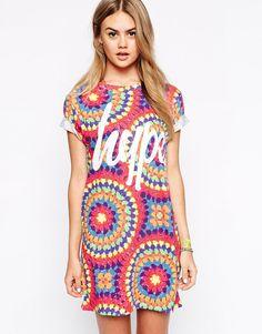 Image 1 - Hype - Robe t-shirt avec imprimé style festival au crochet et logo sur le devant