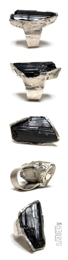 raw, broken, black tourmaline in sterling silver. || natural stone rings || SRitterNYC.com