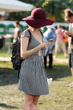 20+ Pics Of Pitchfork's Most Inspiring Street Style Stars #refinery29  http://www.refinery29.com/2015/07/90799/pitchfork-2015-street-style-pictures#slide-12  This gingham sundress/felt topper combination is very Annie Hall, with a dash of Dorothy....