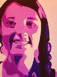 """My seventh grade rounded out the semester creating acrylic portrait paintings on 11"""" x 14"""" stretched canvas. Just like in the Chuck Close in..."""