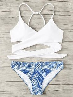 53ffbbdc8294a See more. Wrap up lace up blue leaf 2 piece bikini set Swimsuits For  Tweens, Bathing Suits