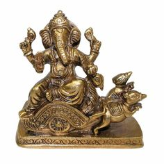 Ganesh Riding on Rat Chariot In Brass Religious God Sculpture Festival