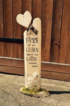 Deko - Holz - Säule - Accessoires - Familie - Liebe / Handgemacht in Möbel & Wohnen, Dekoration, Schilder & Tafeln | eBay!