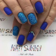 Matte Blue and Glitter Nail Art Design for Prom