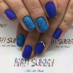 Matte Blue and Glitter Nail Art Design for Prom