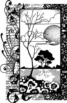 chocolate Baroque Landscape Collage cling mounted rubber stamp - Beautiful layered effect size 122mm x 82 mm