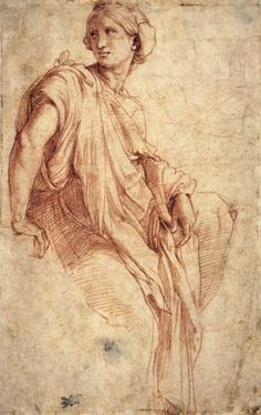 "mindofnox: "" Study of a Sibyl (recto), Raffaello Sanzio. 1511-12 Red chalk over Stylus, 262 x 167 mm British Museum, London """