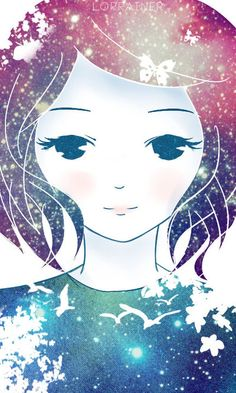 galaxy girl [ID] by lorrainer.deviantart.com #illustration