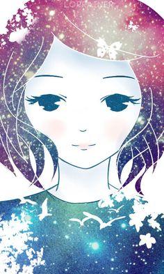 galaxy girl [ID] by lorrainer.deviantart.com #illustration