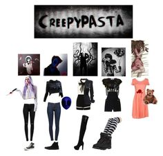 """""""Squad Creepypasta"""" by wweluvr ❤ liked on Polyvore featuring J Brand, Widow, Converse, Kershaw, Frame Denim, Alexander Wang, Ossie Clark, Bundy & Webster, SUN68 and Gund"""