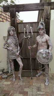 Bodypainting News Media: BNY Gladiator Human Statues News Media, Statues, Garden Sculpture, Body Art, Outdoor Decor, Body Painting, Effigy, Body Mods, Baler