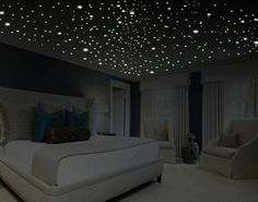 Romantic bedroom decor glow in the dark stars romantic gifts romantic wall decal romantic wall art removable wall decals ceiling decal USD) by WallCrafters Dream Rooms, Dream Bedroom, Bedroom Wall, Girls Bedroom, Bedroom Ideas, Master Bedroom, Bedroom Ceiling, Cozy Bedroom, Bedroom Designs