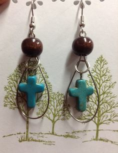 Violin string earrings with howlite turquiose by Cimbacreations, $15.00
