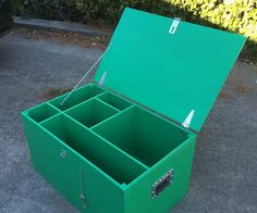 """This sturdy box can hold everything that a 10 person scouting patrol needs for a campout. Space is divided to provide an area for a two burner stove, washing bowl, pots, pans, propane lantern, lighter,dish soap,and utensils.The box is made from a single 8'x4' sheet of 1/2"""" plywood"""