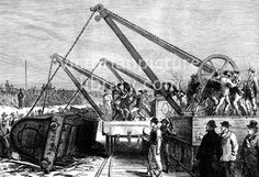 An poster sized print, approx (other products available) - Railway accident at Abbot& Ripton, Huntingdon. Raising an Engine from the wrecked Train. Date: 1876 - Image supplied by Mary Evans Prints Online - Poster printed in the USA Fine Art Prints, Framed Prints, Canvas Prints, Photographic Prints, Wonderful Images, Poster Size Prints, Photo Puzzle, Photo Mugs, Online Printing