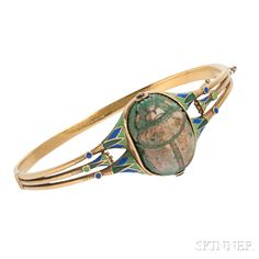 Art Deco Egyptian Revival 18kt Gold and Enamel Bracelet, TB Starr.   Lot 16   Auction 2965B   Estimate $1,500-2,000
