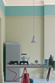 Kitchen Painted In Farrow & Ball Mizzle, Dix Blue, Wimborne White, Manor House Gray And Porphyry Pink Farrow Ball, Color Inspiration, Interior Inspiration, Kitchen Inspiration, Dix Blue, Wimborne White, Two Tone Walls, Interior And Exterior, Furniture