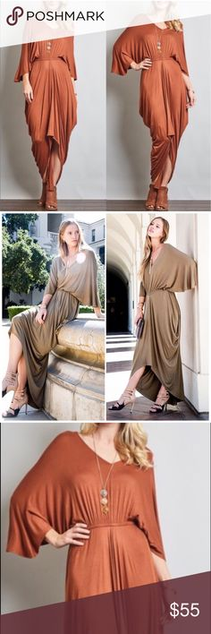 Rust Draped Loose Sleeve Maxi Dress Rust Draped Loose Sleeve Maxi Dress featuring empire waist 3/4 sleeves. 96% rayon 4% spandex. Made in USA! Bchic Dresses Maxi