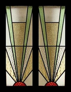 The Very Best Art Deco Sunburst Stained Glass Sidelight Pair of Windows