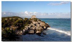 Templo Dios del Viento (God of Winds Temple) guarding Tulum's sea entrance bay