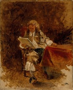 Study of a Seated Cavalier Reading (c.1870). Jean-Louis Ernest Meissonier (French, 1815-1891)
