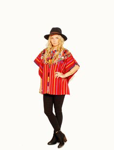 Vintage Huipil Top Ethnic Embroidered by redpoppyvintageshop