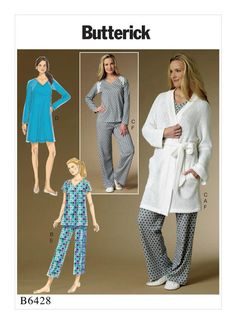 B6428 Butterick sleepwear sewing pattern. Misses' Robe, Raglan Sleeve Tops and Gown, and Pull-On Pants