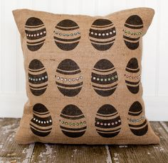 Burlap pillow  Decorating for Easter can be as easy as adding a few new seasonal pillows on your couch. These rustic, burlap pillows are sure to brighten up your home for an Easter dinner.Mon Mell Designs on Etsy, $52 US.