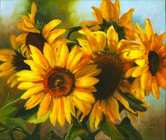 Summer is coming! Sunflowers by Sue Rohrback #summer #sunflowers #art #painting #flowers