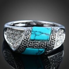 beautiful Fashion White gold plated Pretty cute women Turquoise crystal Ring Box