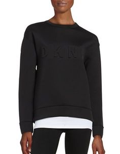 Dkny Solid Long Sleeve Pullover Women's Black Large