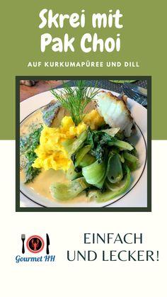 Rezept für eine Norddeutsch- / Asiatisches Fusion Fischgericht - probiert es aus! Auch für Anfänger geeignet. Pak Choi, Meat, Chicken, Food, Gourmet, Turmeric, Fish Fry, Cod Fish, Peeling Potatoes
