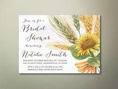 Sunflower Bridal Shower Invitation Printable, Rustic Fall Bridal Shower Invitation, Country Bridal Shower Invite, Printable Bridal Shower - pinned by pin4etsy.com