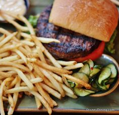 Kobe Beef Burger with Fries from Yak & Yeti.  Click for the full review! #disneydining