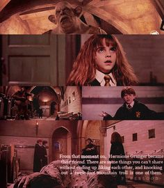There are some things you can't share without ending up liking each other, and knocking out a twelve foot mountain troll is one of them. Ron And Hermione, Hermione Granger, Hermione Quotes, Harry Potter Gif, Harry Potter Books, Yer A Wizard Harry, Prisoner Of Azkaban, Mischief Managed, Geek Girls