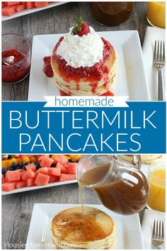 These Buttermilk Pancakes are the best! No need to use store bought pancake mix, this Buttermilk Pancakes Recipe goes together in minutes. Healthy Breakfast Snacks, Egg Recipes For Breakfast, Homemade Breakfast, Brunch Recipes, Breakfast Ideas, Dessert Recipes, Desserts, Easy Homemade Recipes, Fun Baking Recipes