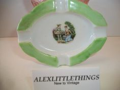 Vintage Green Courting Couple Ashtray Japan by ALEXLITTLETHINGS