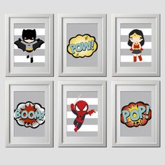 superhero wall art vintage color superhero by AmysSimpleDesigns