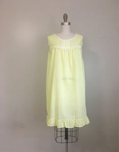 72ba695f2 Sweet pastel yellow sleeveless nightgown with pleated chiffon inset   lace  trim