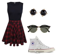""""""""""" by rachavez on Polyvore featuring Converse, Ray-Ban and Irene Neuwirth"""