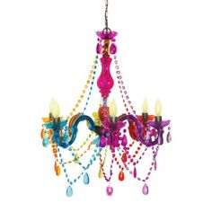 """Cirque Hanging Chandelier    25"""" h x 24"""" diameter, handmade hanging chandelier lamp, embellished with acrylic material &glass beads. Extends from a hook onceiling, plugs into electrical socket. (hook included)"""
