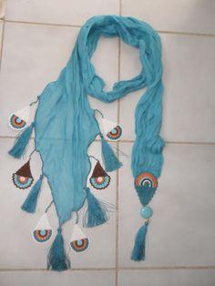 Beadwork necklace Crochet beaded necklace by elegantaccessoryshop Crochet Stitches, Knit Crochet, Knitting Patterns, Crochet Patterns, Butterfly Scarf, Lace Scarf, Bijoux Diy, Fabric Jewelry, Crochet Flowers