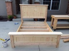 Farmhouse Queen Bed and Headboard   Do It Yourself Home Projects from Ana White